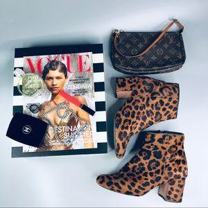 Zara Leopard Print Calf Hair Ankle Booties